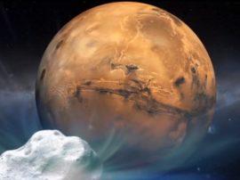 Marte sfiorata da una grande cometa